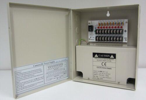 8 Channel Power Supply Box CCTV Camera 9 Port 12V w// 10pcs Free Pigtails Dc Jack