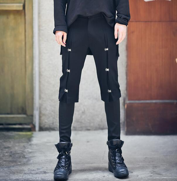 Mens Gothic Button Slim Skinny Pants Nightclub Harem Punk Fashion Long Trousers