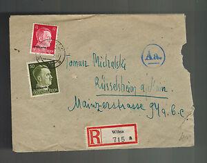1942 Vilnius Litauen Abdeckung zu Ruesselsheim Deutschland Zensiert in
