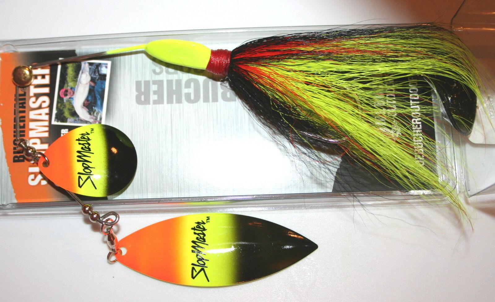 "5/"" Slopmaster Joe Bucher Pike Tinsel Tandem Spinnerbait Rainbow Nickel 528-87166"
