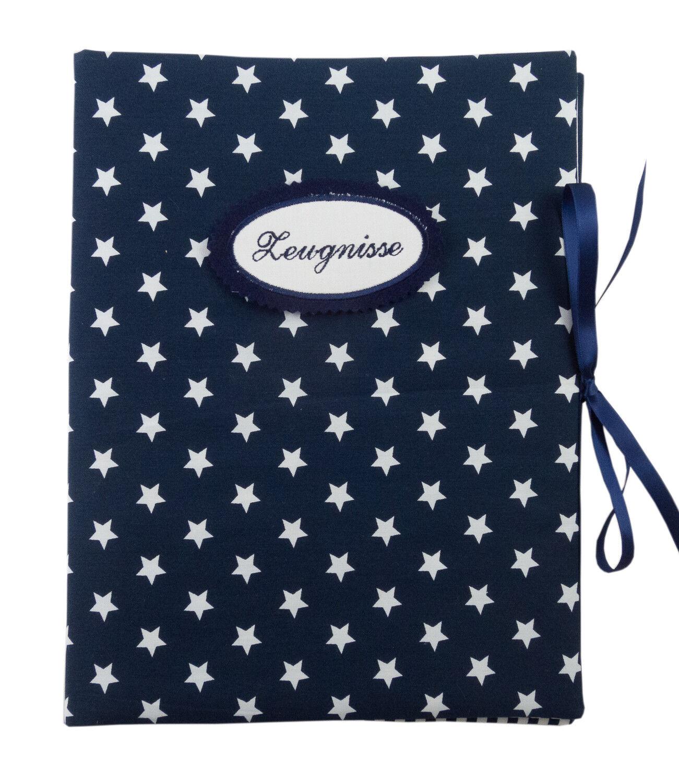 Zeugnismappe DIN A4 Sterne blau Streifen blau weiß - innen 30 Sichthüllen | Ich kann es nicht ablegen  | Qualitätskönigin  | Schöne Farbe