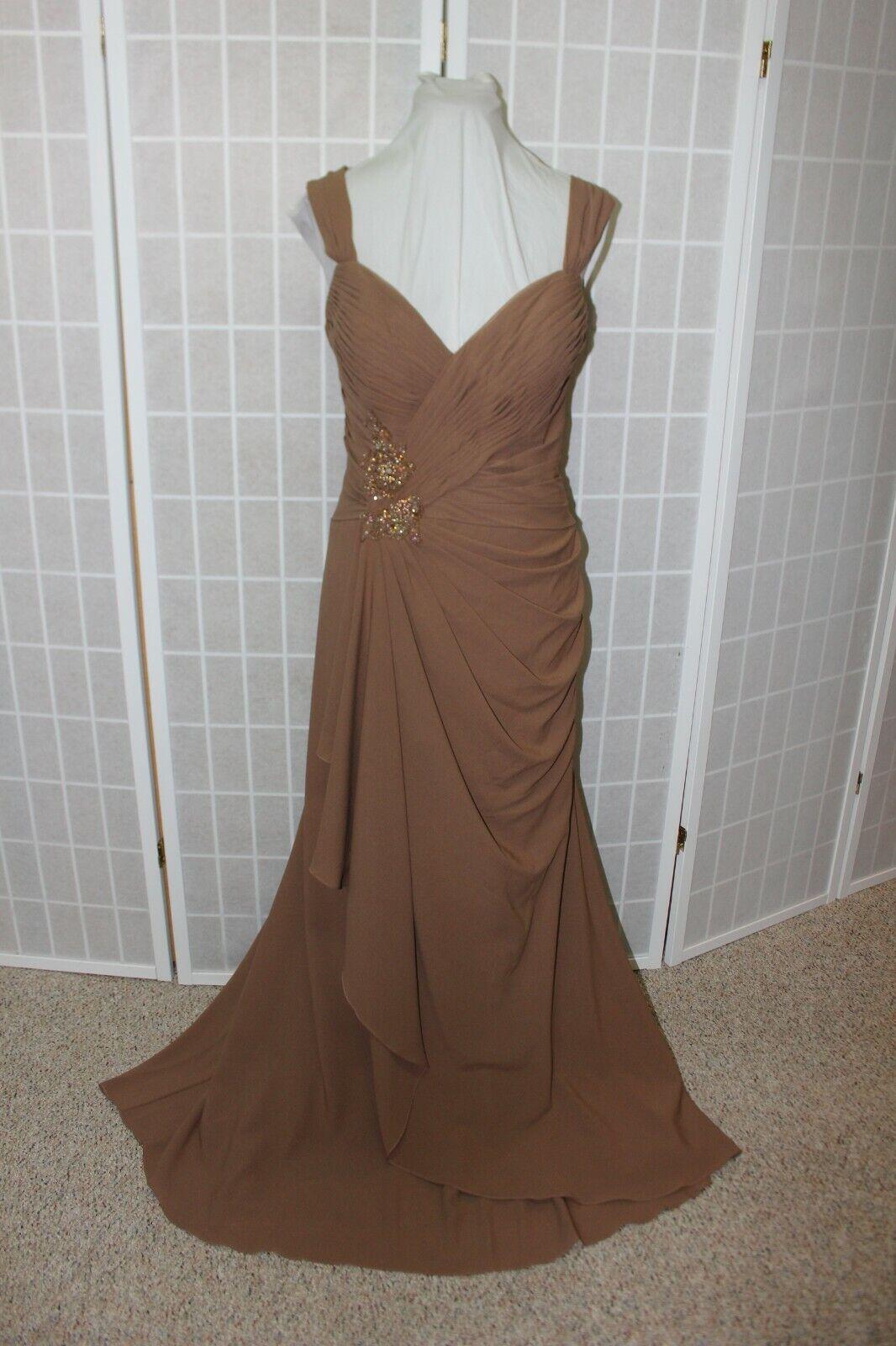 NWT Size 14 Cameron Blake by Mon Cheri 213640 Coffee chiffon long formal gown