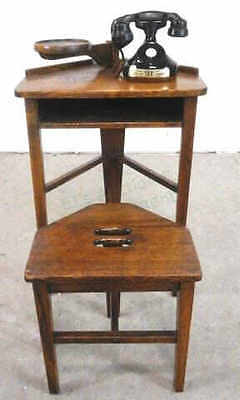 Antique Oak Telephone Decanter Table W/ Bench Lot 2269