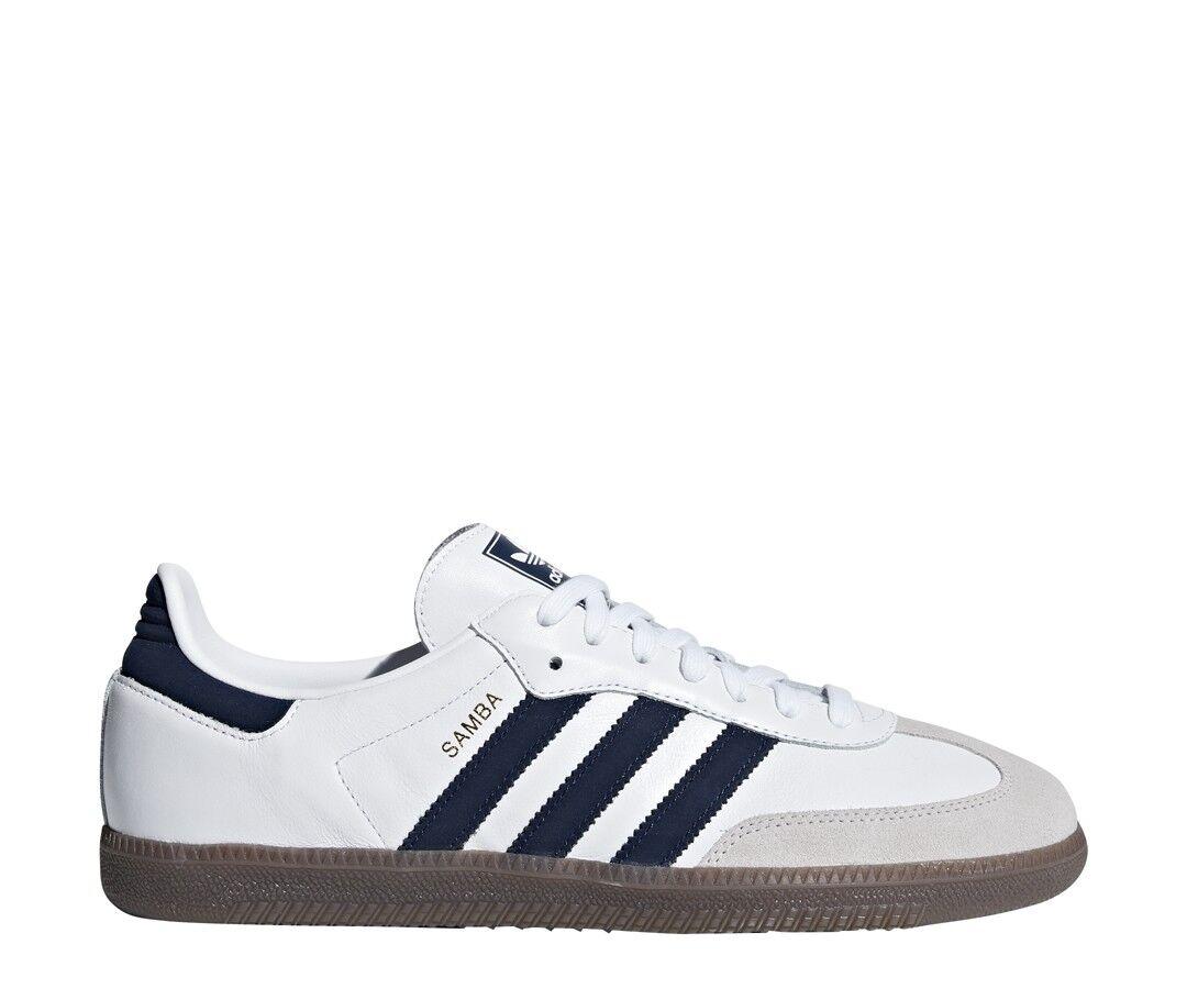 New Adidas Men's Originals Samba OG shoes (B75681)  White    Collegiate Navy