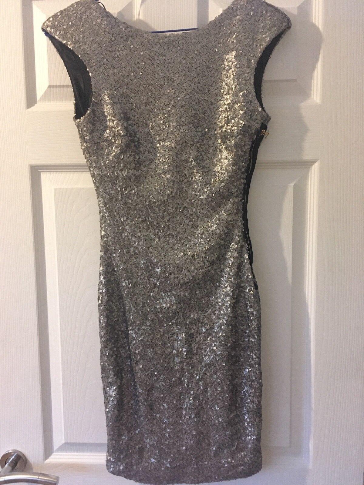 Zara Argent Paillettes Robe moulante  taille XS
