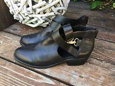 TOPSHOP Black Leather Ankle Strap Boots Sz US 5 EUR 38