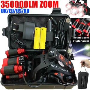350000LM-T6-LED-Waterproof-Head-Torch-Light-Headlamp-Flashlight-Set-Rechargeable