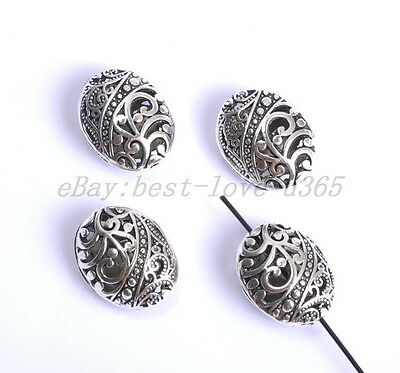 10pcs Tibetan Silver Ellipse Shaped Hollow Charms Spacer Beads Findings BE26