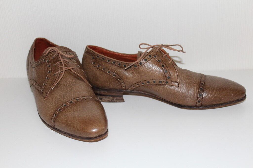 Vintage Schuhe echt Leder Damen Budapester Schuhe Vintage 41 Leder Lace Up FLATS BROGUES 60er 827f97