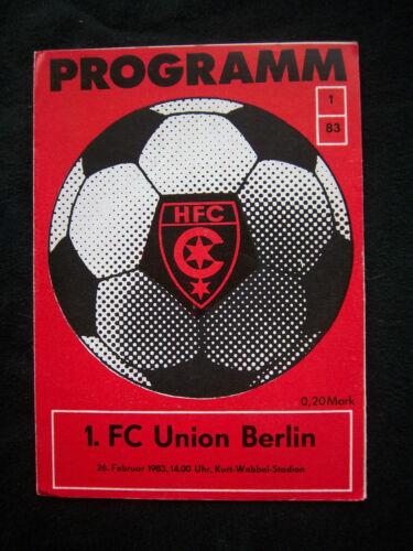 1.FC UNION BERLIN  !! Orig.PRG   DDR Oberliga  1982//83  HALLESCHER FC CHEMIE