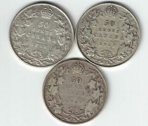 3-X-CANADA-50-CENTS-KING-GEORGE-V-CANADIAN-STERLING-SILVER-COINS-1918-1919-1920