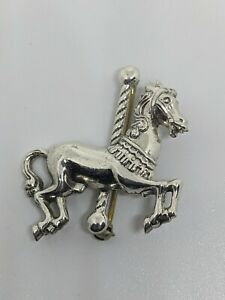 Vintage Merry Go Round Horse Sterling Silver Brooch By Jezlaine