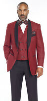 Mens 3 Piece Black Red Houndstooth Double Breasted Vest Suit M2699 Ej Samuel