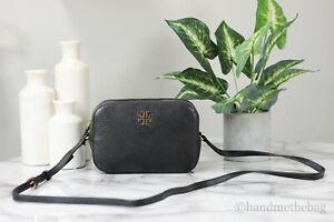 Tory Burch (78548) Large Black Pebble Leather Logo Round Crossbody Camera Bag