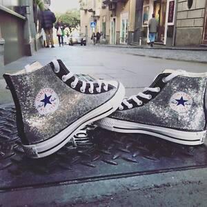 Converse-all-Star-Nere-personalizzate-con-tessuto-Glitter-argento-Clean