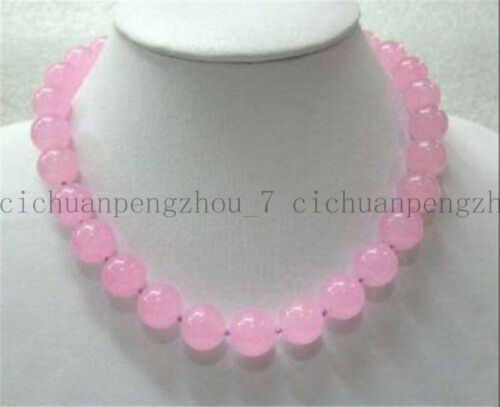 """Pretty  8mm Natural Pink Chalcedony Gemstones Round Beads Necklace 18/"""" AA"""