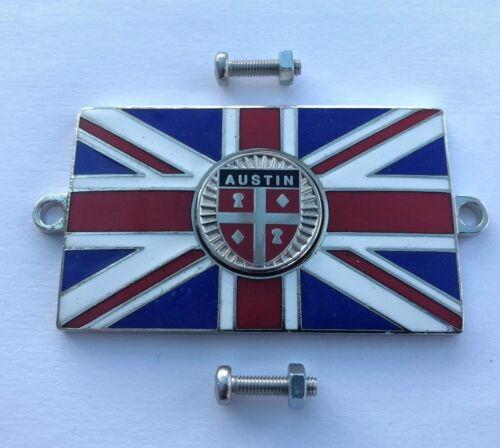 AUSTIN Union Jack GB Brass Enamel Classic Car Badge Bolt On
