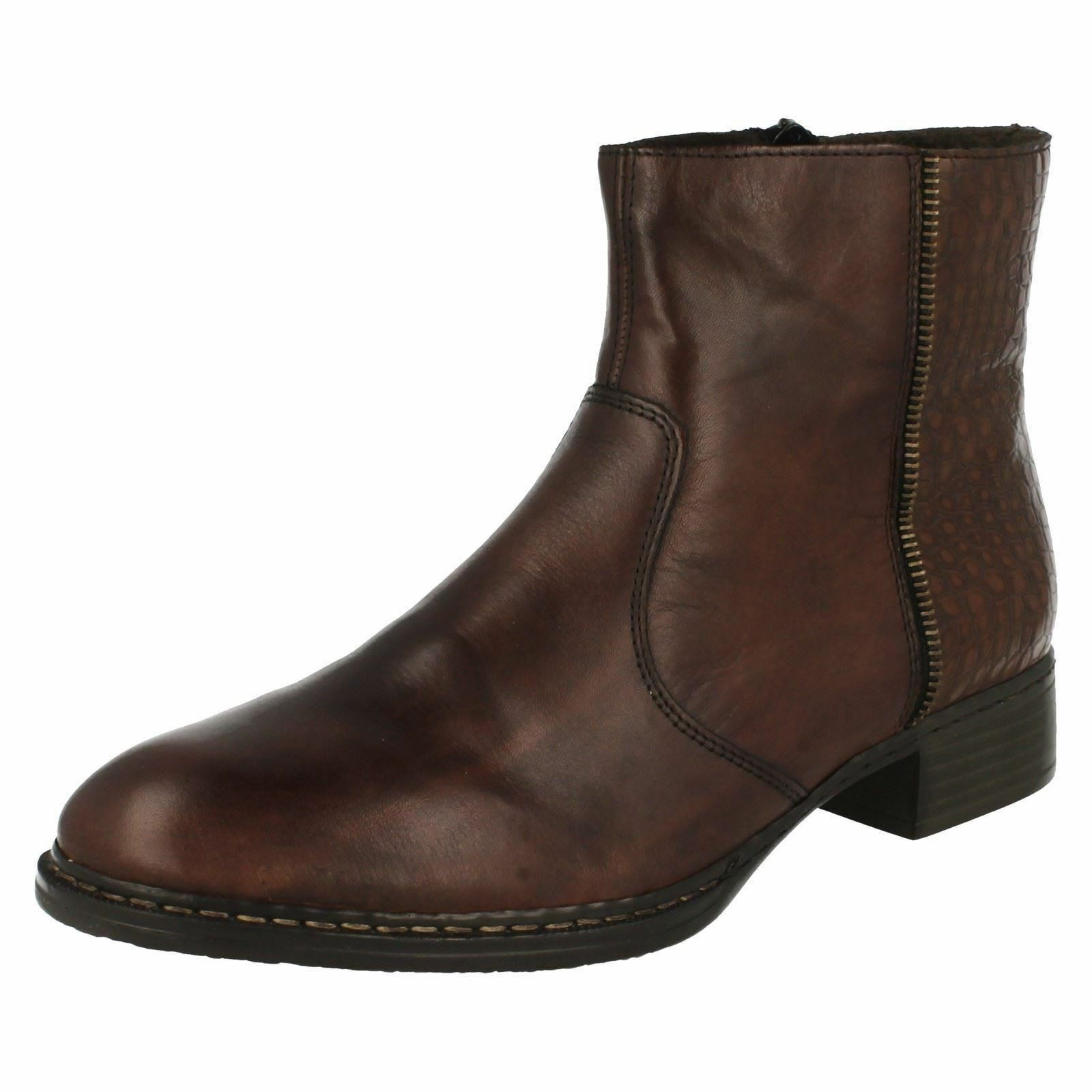 Ladies Rieker 73490 Black Or Brown Leather Leather Leather Zip Up Ankle Boots 02e069