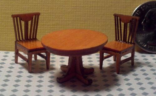Dollhouse Miniature Laser Cut Kits Round Table /&2 Chairs Kit 1:48  1//4 Quarter