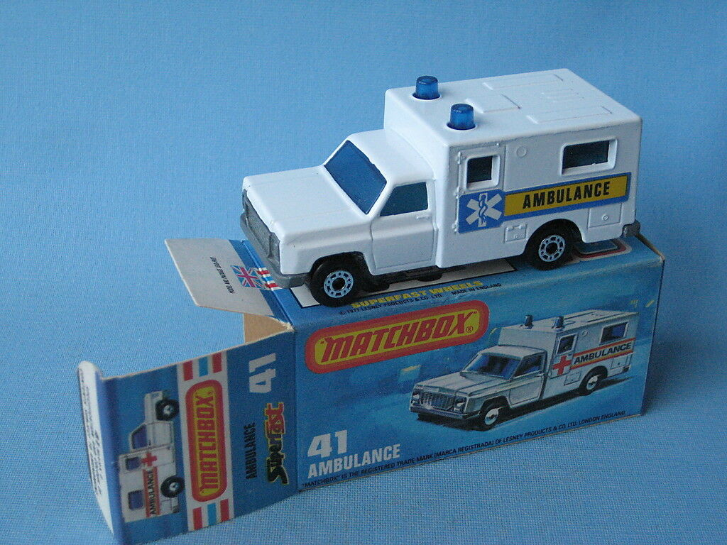 Lesney Matchbox Ambulance Yellow and bluee Labels Boxed