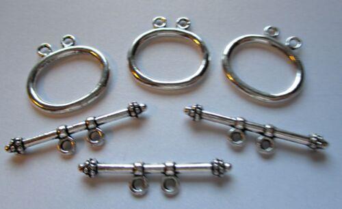 20 Knebelverschlüsse Knebelverschluss silberfarben Verbinder 22 mm 2-Teilig
