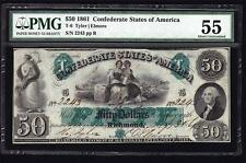 T-6 1861 $50 Military Endorsement Confederate Civil War PMG 55 About Unc