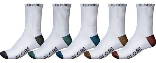 Globe Mens Socks 5 Pairs White Ingles Crew