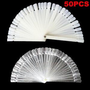 50-Nail-Art-Fan-Wheel-False-Display-Polish-Clear-Colour-Tips-Sticks-Practice-Kit