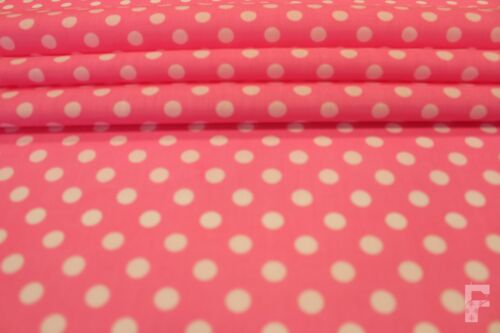 POLKA DOTS WHITE PEA SPOTS ON POLY COTTON FABRIC 9 mm Spots