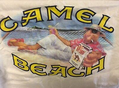 "Vintage CAMEL 1991 Made in USA /""Joe Camel/"" Beach White pocket T-Shirt XL /""NEW/"""