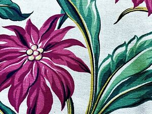 PAIR 1930's South Beach Tropics Barkcloth Vintage Fabric Drape Curtain Panels