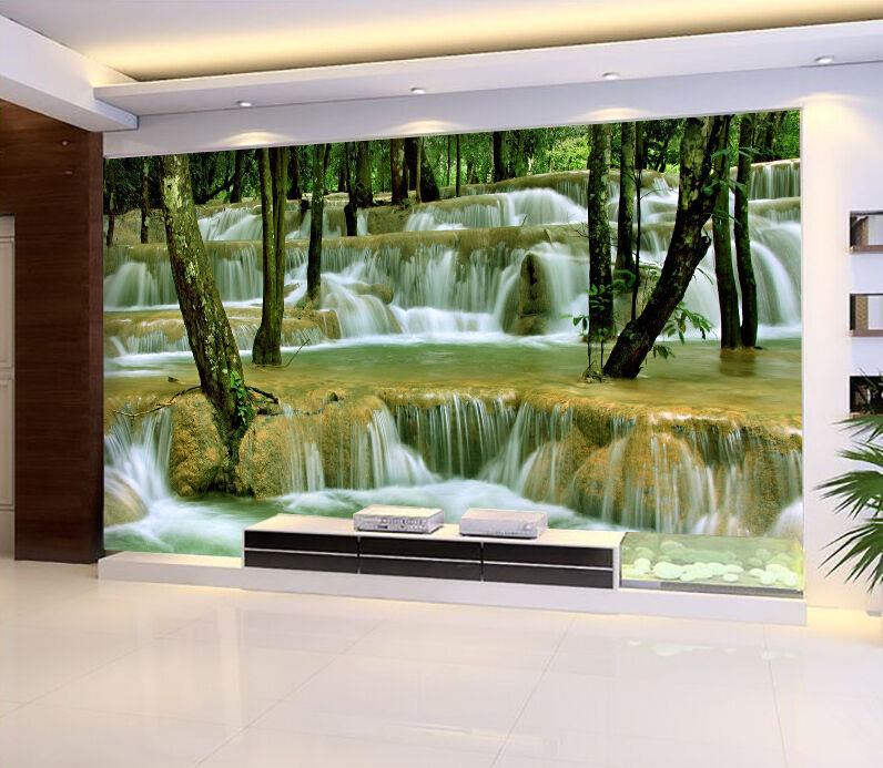 3D Stone river tree 727 Wall Paper Print Decal Wall Deco Indoor wall Mural