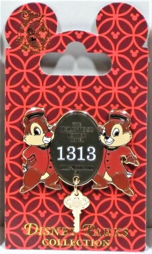 Disney Hollywood Tower Of Terror Hotel HTH Chip /& Dale Bellhops Dangle Key Pin