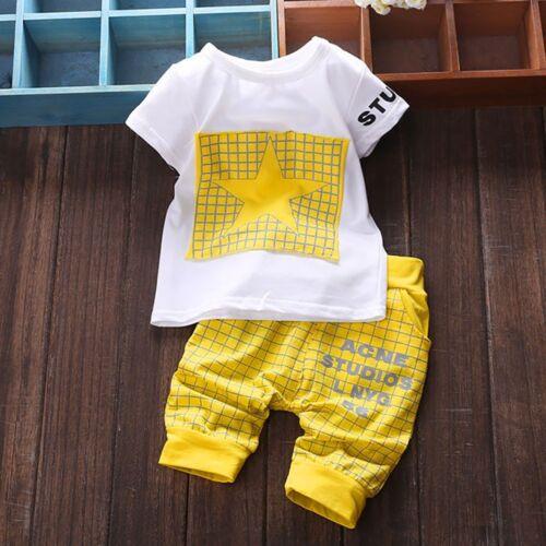 2Pcs Infant Kid Boys Girl Letter Star Print Plaid Tops+Pants Outfits Clothes Set