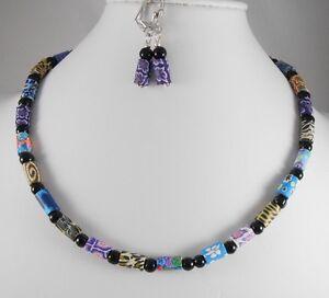TOLLES-SET-Halskette-aus-FIMO-Polymer-Walzen-BUNT-Glas-Perlen-Ohrhaenger
