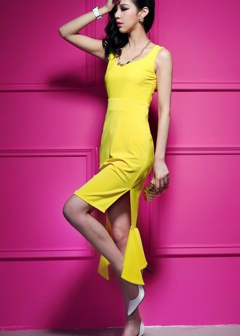 Dress dress sheath dress woman yellow - tail 3106
