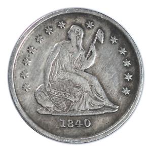1840-O Seated Liberty Quarter No Drapery Very Fine Condition