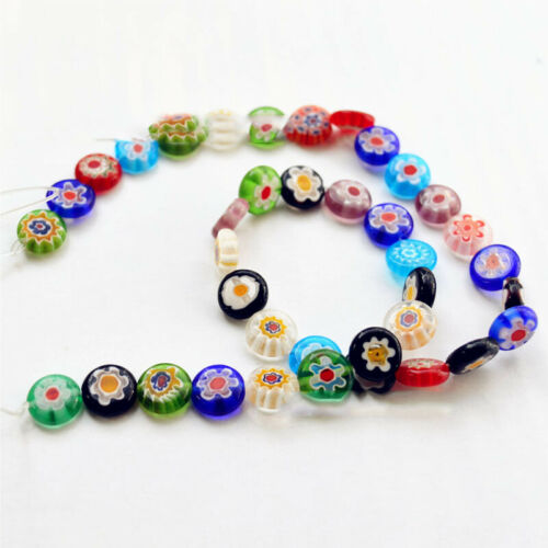 40//50//65Pcs Flower Glass Beads Oblate Millefiori Loose Spacer DIY Craft Jewelry