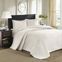 Beautiful Xxxl Soft Oversized Classic White Textured Quilt Bedspread Set X Large