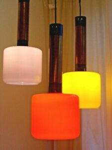 1950s-Stilnovo-triple-glass-and-brass-pendants-with-coloured-Murano-shades-1950s