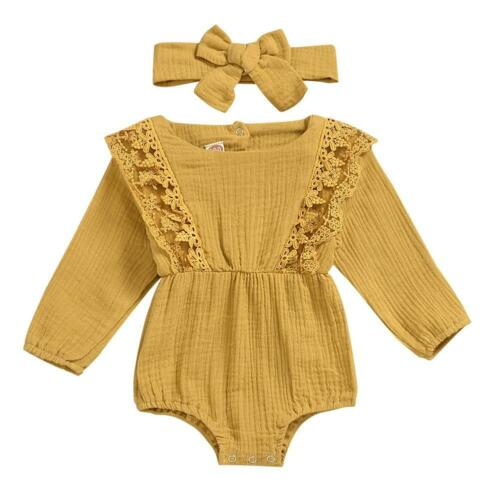 Headband Lot 2pcs Autumn Cotton Clothes Set Baby Kid Girl Solid Color Rompers