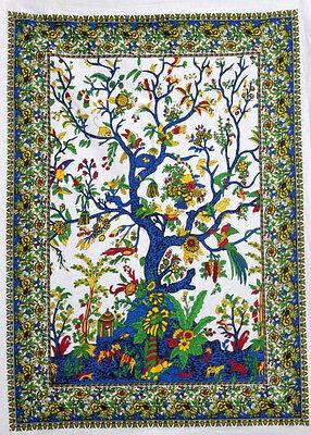 Indian Mandala Tapestry Wall Hanging Hippie Bedspread Bohemian Tree of Life Art