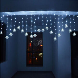 Indoor Christmas Lights.Details About 3m Icicle Snowflakes Curtain Window Fairy String Lights Outdoor Indoor Christmas