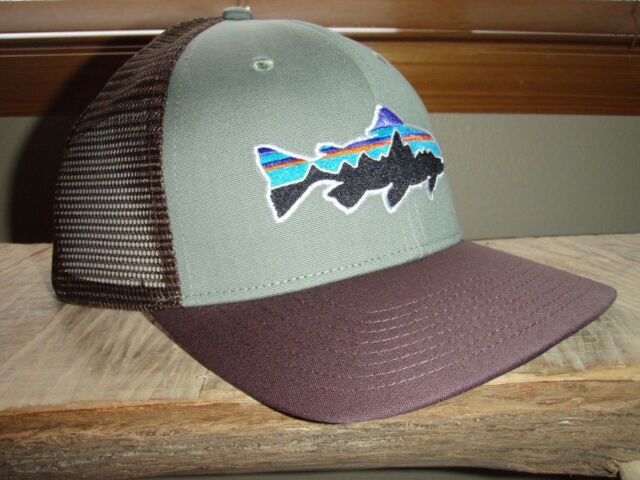 279630b1cfe Patagonia Fitz Roy Trout Trucker Hat Trail Green W pinecone RARE for ...