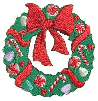 Iron on Glitter Christmas Stocking with Candy Cane Applique Patch