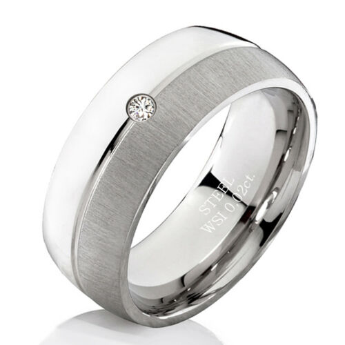 Verlobungsring mit echtem Diamant Damenring aus Edelstahl und Ring Gravur DEB2