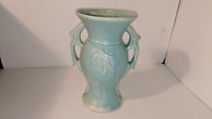Vintage 1940-1950s Pottery by McCoy - Amphora Style Vase with Light Blue Glaze
