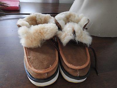Piel de Oveja Real Cuero Genuino Botas Zapatos De Los Niños Niño Niña Uk Size 6 7 8 9