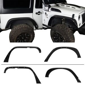 4x Steel Flat Fender Flares Fit for 07-18 Jeep Wrangler JK/JKU Textured Style