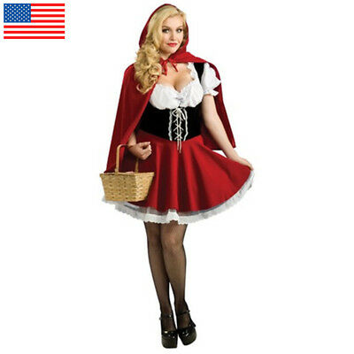 S-6XL US STOCK Little Red Riding Hood Costume Fancy Dress Cosplay Xmas Halloween